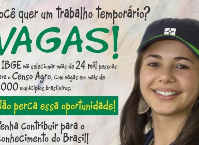 NOTA DE UTILIDADE PÚBLICA: IBGE ABRE PROCESSO SELETIVO PARA O CENSO AGROPECUÁRIO