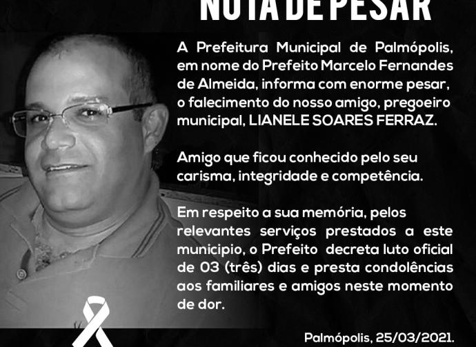 Nota de Pesar - Lianele Soares Ferraz